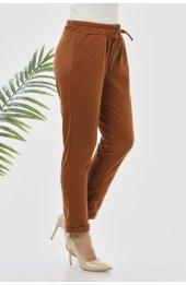 Y363 Yazlik Rahat Kesim Pantolon - Taba-2