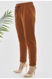 Y363 Yazlik Rahat Kesim Pantolon - Taba-3