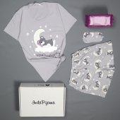 Gri Dream Bear Desenli Şortlu Bayan Pijama Takımı-2