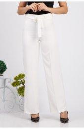 Bol Paça Kuşakli Dabil Pantolon H238 - Beyaz-2