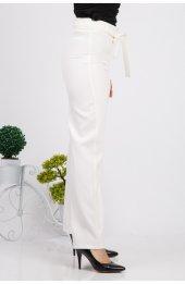 Bol Paça Kuşakli Dabil Pantolon H238 - Beyaz-3