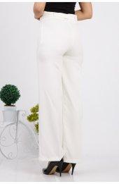 Bol Paça Kuşakli Dabil Pantolon H238 - Beyaz-5