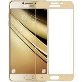 Samsung Galaxy C7 Pro - Tamperli Tam Kaplayan Kırılmaz Cam Tam Ka