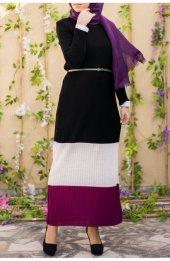 3 Renk Triko Elbise 1030 Siyah