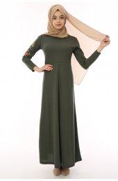 Kollari Nakişli Uzun Tesettür Elbise 3050 Haki