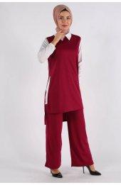 5041 Gömlek Yaka Bluz -Pantolon Üçlü Takim - Mürdüm-3
