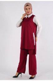 5041 Gömlek Yaka Bluz -Pantolon Üçlü Takim - Mürdüm-4
