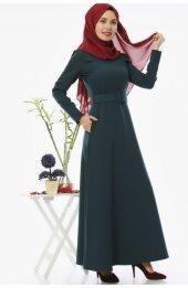 5002 Kemerli Tesettür Elbise - Zümrüt-3