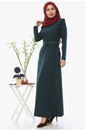 5002 Kemerli Tesettür Elbise - Zümrüt-4