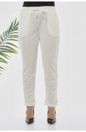 Y363 Yazlik Rahat Kesim Pantolon - Beyaz