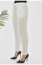 Y363 Yazlik Rahat Kesim Pantolon - Beyaz-2