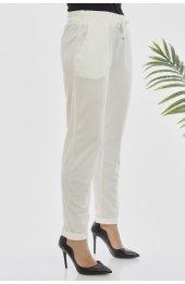 Y363 Yazlik Rahat Kesim Pantolon - Beyaz-3