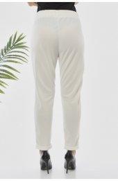 Y363 Yazlik Rahat Kesim Pantolon - Beyaz-4