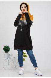 5184 Krep Yazlik  Kapşonlu Sweatshirt - Hardal-3