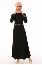 çiçek Nakişli Tesettür Elbise 3052 Siyah