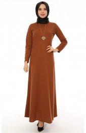 Uzun Tesettür Elbise 2001 Camel