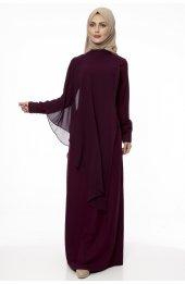 5046 Inci Detayli Elbise - Mürdüm
