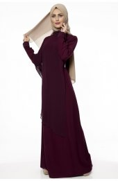 5046 Inci Detayli Elbise - Mürdüm-3