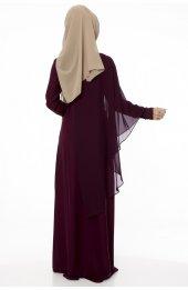 5046 Inci Detayli Elbise - Mürdüm-5
