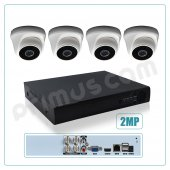 Primuscam 4'lü Dome Güvenlik Kamera Seti İç Ortam 2MP AHD DVR