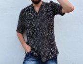 Siyah Beyaz Benekli Vintage Retro Gömlek 2019 Trend