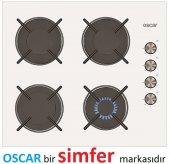 Oscar 3603 Beyaz Cam Gaz Kesme Emniyetli Ankastre Ocak