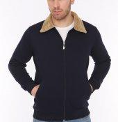 Genıus Store Lacivert Erkek Kürklü Yaka Fermuarlı Ceket+3renk