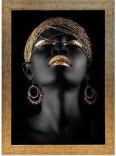 Altın Motifli Siyahi Kadın Tablo 70x100 Cm