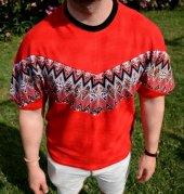 Aztec Stil Çiçek Desen Vintage Kırmızı Retro Tshirt