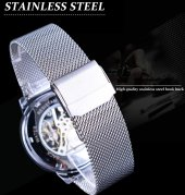 Forsining Gümüş Hasır Kordon Mekanik İskelet Erkek Kol Saati YENİ-9