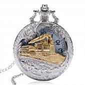 özel Tren Tasarımlı Retro Köstekli Cep Saati Zincirli Saat