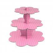 Puantiyeli Pembe 3 Katlı Cupcake Stand 1 Yaş,Diş ,Doğum Günü