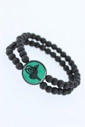 Yeşil Metal Üzerine Siyah Osmanlı Tuğra Figürlü Siyah Renk Çift S