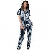 Indigo Exculusive Collection Önden Düğmeli İpek Saten Pijama Takımı