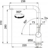 Franke Active Plus Duşlama özellikli spiralli Smoked Shiny Armatür-2