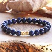 Doğal Taş Altın Kaplama Figürlü Lapis Lazuli Bileklik 'Golden N-2