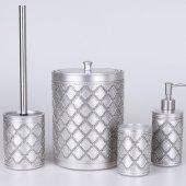 Selim Ethnic 4lü Polyester Banyo Seti Gümüş