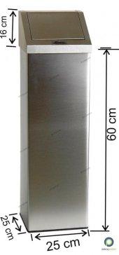 Kare Yaylı Kapaklı 24 Lt Paslanmaz Çöp Kovası Arı Metal 1345