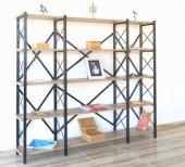Metal Ahşap Kitaplık Seti Ofis Büro Raf K223