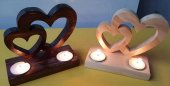 Ahşap Kalpli Mumluk Dekoratif Görünüm Kampanyalı Ürün
