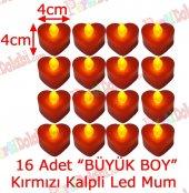 16 Adet 4x4cm Işıklı Kalp Mum Görünümlü, Kırmızı Led Mum
