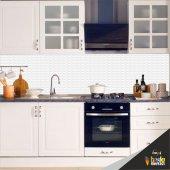 Mutfak Tezgah Arası Folyo Kaplama Beyaz Taş Desen