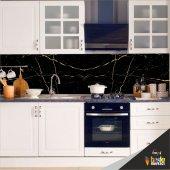 Mutfak Tezgah Arası Folyo Kaplama Siyah Mermer Desen
