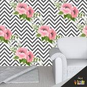 Duvar Kağıdı Kaplama Folyosu Pembe Çiçek