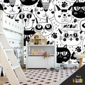çocuk Odası Duvar Kağıdı Kaplama Folyosu Kediler