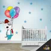 çocuk Odası Duvar Kaplama Folyosu Balonlu Köpek