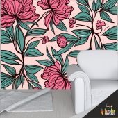Duvar Kaplama Folyosu Pembe Çiçekler