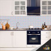 Mutfak Tezgah Arası Folyo Kaplama Pembe Mavi