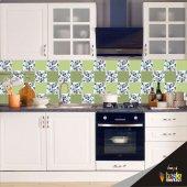 Tezgah Arası Mutfak Folyo Kaplama Yeşil Çiçek