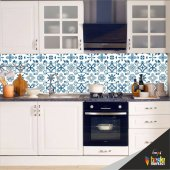 Mutfak Tezgah Arası Folyo Kaplama Mavi